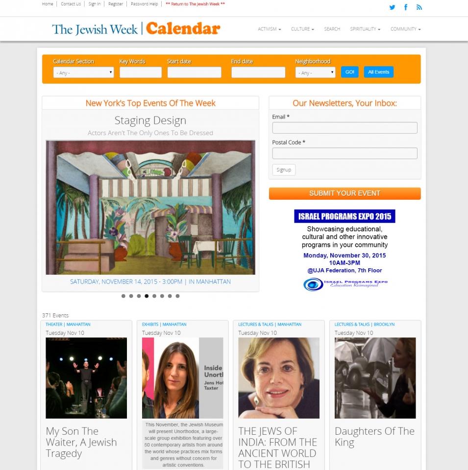 THE JEWISH WEEK CALENDAR